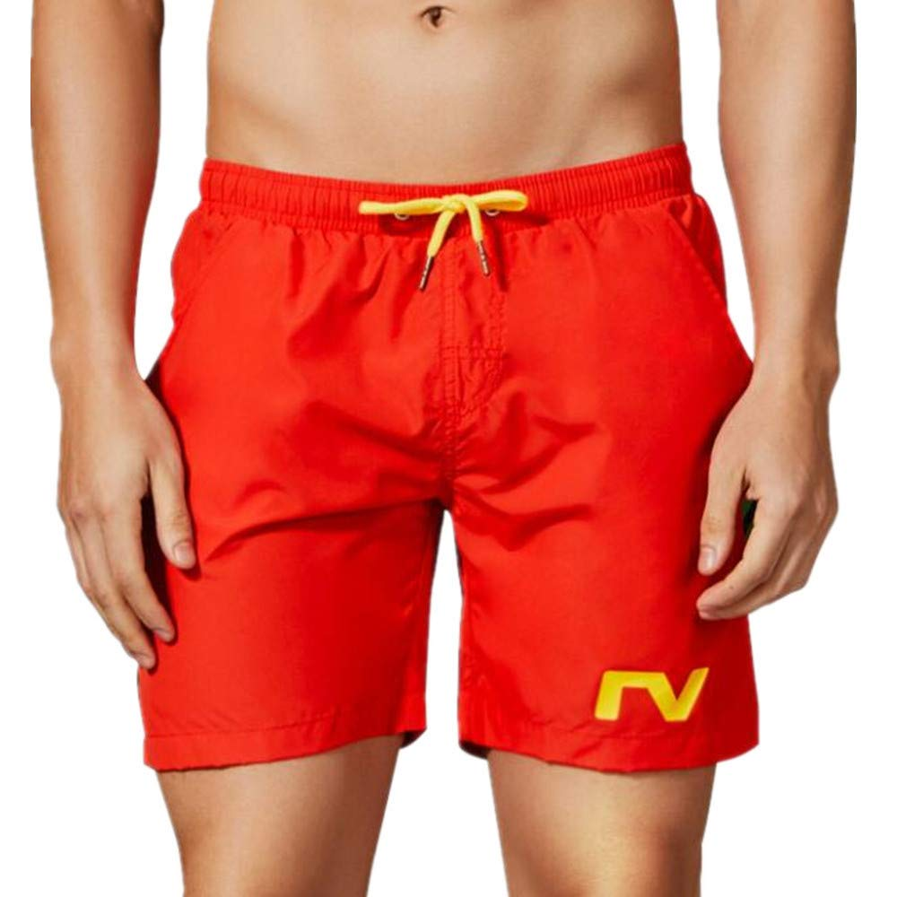 Summer Mens Beach Shorts Seaside Swim Trunks Surfing Shorts Breathable Red,X-Large