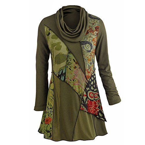 PARSLEY & SAGE Women's Tunic Top - We Love Olive Patchwork Printed Cowl Neck Blouse (X-Large) (Sage Tops Parsley And)