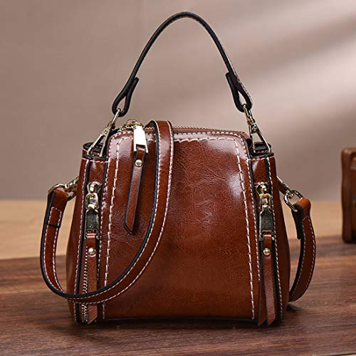 De color Mode Multi Baachang fonction Dames Sacs Bandoulière Brown À Sac Véritable Cuir Brown Rétro La Messenger Main En Seau Sauvage OUFTcaUq