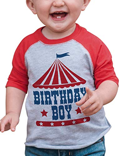 7 ate 9 Apparel Boy's Birthday Circus Red Raglan 2T (Baby Masters Clothes)