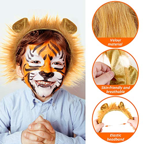 3 otters Lion Cosplay Accessories, 3PCS Lion Ears and Tail Set Halloween Lion Headband Lion Tail and Headband Dress Up Accessories for Halloween Party Brown