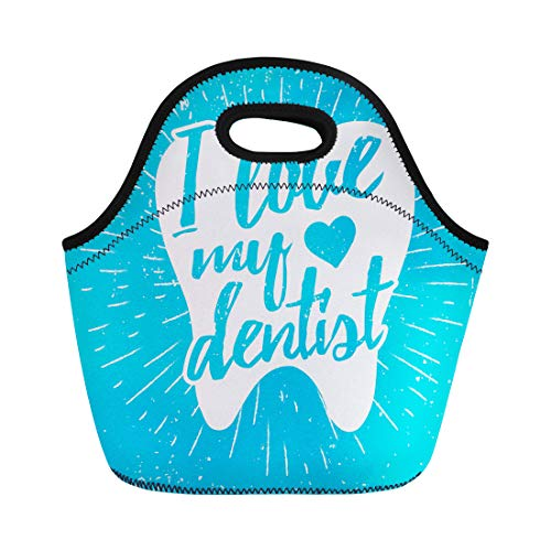 Semtomn Lunch Tote Bag Dental Care Motivational Dentist Day Lettering on Tooth Reusable Neoprene Insulated Thermal Outdoor Picnic Lunchbox for Men Women