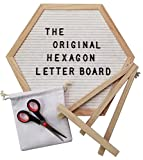 The Original Hexagon Felt Letter Board, 12 Inch x 14 Inch: Includes 360 Letters, Numbers & Characters and Free Wall Mounting Hook, Wood Easel Stand, Multi-Use Scissors, and Canvas Bag (White)