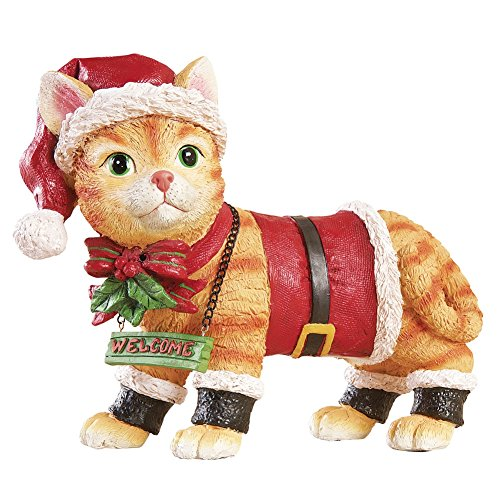 Collections Etc Motion Sensored Festive Santa Pet Christmas Yard Decoration, Welcome Entrance Figurine for Pet Lovers, Cat ()