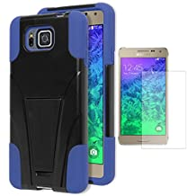 Galaxy Alpha Case, Bastex Heavy Duty Hybrid Protective T-Stand Case - Blue Soft Silicone Cover with Hard Black T-Stand Kickstand Case for Samsung Galaxy Alpha G850 **INCLUDES A SCREEN PROTECTOR!**