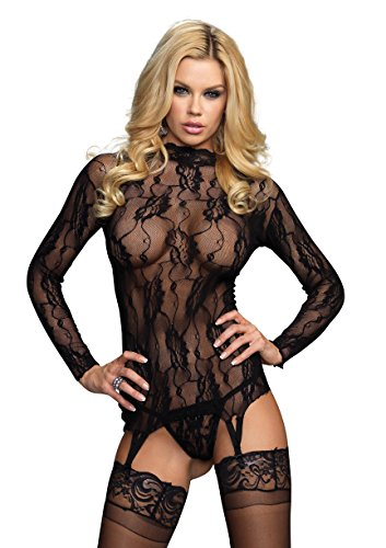 (Leg Avenue Floral Lace Garter Top and G-String Panty)