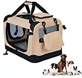 WOLTU Folding Pet Carrier Soft Dog Crate Pet Home for Indoor/Outdoor Use, Beige, 28