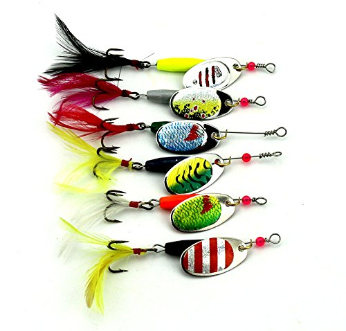 Fishing Lure Spinnerbait Hard Metal Spinner baits kit (A Group of Six Bait) Fishing Lure Tackle for Bass,Trout,Walleye,Salmon (sp008) (SP008) (River Lures Fishing Bait)