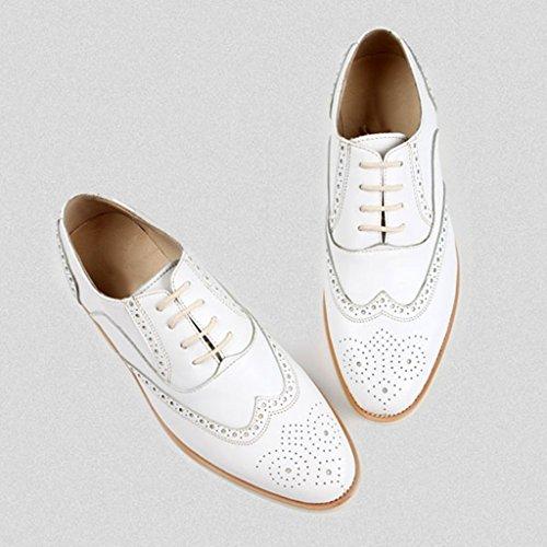 Zapatos Clásicos de Piel para Hombre Zapatos de cuero para hombres Ocio Zapatos de encaje estilo británico con cordones ( Color : Negro , Tamaño : EU44/UK8.5 ) Blanco