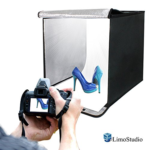 LimoStudio 20 Inch Cube Box Black LED Lighting Table Top Photo Shooting Tent for Commercial Product Photo Shoot, Color Background, LED Panel, Easy Install with Velcro, Photography Studio, AGG377V2 by LimoStudio