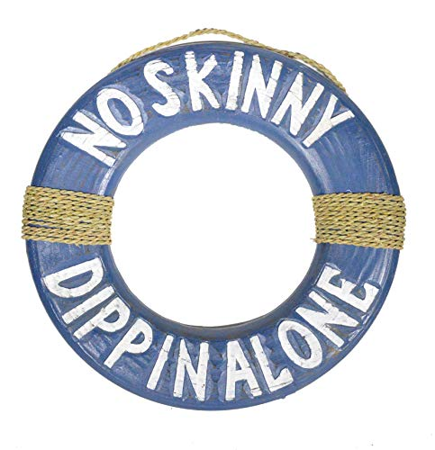 No skinny dippin Lifesaver Wooden Buoy Sign Hand Carved and Painted Art Alone