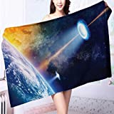 Auraise Home absorbent bath towel Warning Signs with Alien ces Heads Galactic Paranormal Activity Machine washable L39.4 x W19.7 INCH