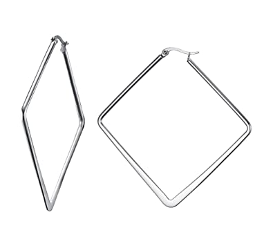 d5f3bff3d9b181 Mealguet Jewelry Stainless Steel Oversize Square-shaped Polished Simple  Plain Geometric Hoop Earrings for Women