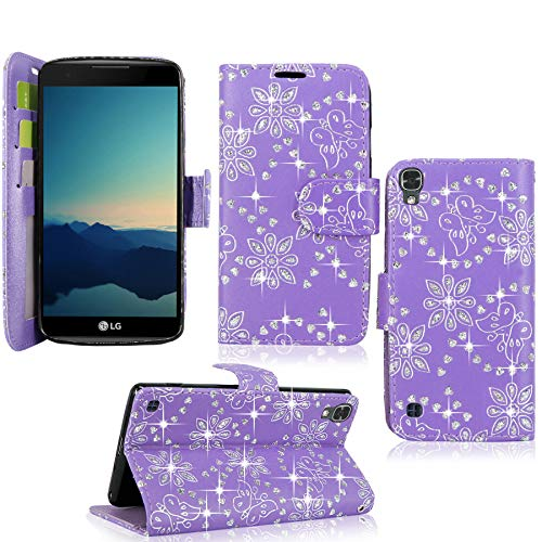 LG X Power Case/LG K6P Case, Cellularvilla [Slim Fit] [Card Slot] Premium Leather Wallet Case [Drop Protection] Book Style Flip Protective Stand Cover for LG X Power / K6P / K210 (Purple Glitter)