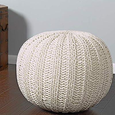 """L.R. Resources POUFS08124BON1814 Array Isle Bone Knitted Pouf Ottoman 1'4"""" x 1'8"""" Ivory"""