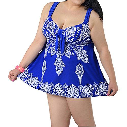 Vividda Mujer Trajes De Baño Ropa Tallas Grandes Una Pieza Falda Y Pantalones Cortos Conjuntos Azul A