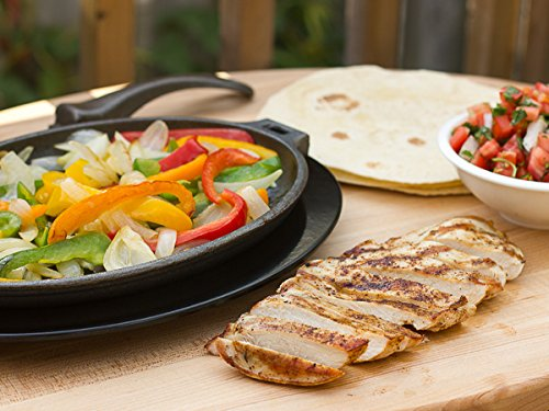 Unicook Pre-Seasoned Cast Iron Skillet, Fajita Pan Set with Removable Handle, Sizzling Fajita Platter Set, Durable Grill Pan, Includes Heat Resistant Serving Underliner, Oven Safe, Oval 10.5'' x7.25'' by Unicook (Image #4)