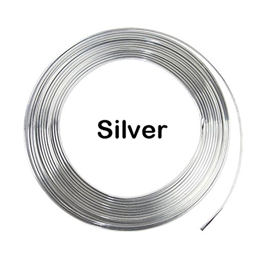 Line Strip - YIJINSHENG 3metres x 6MM Universal U Shape Custom Chrome Plated DIY Moulding Trim Strip Line For Sedan Car Pickup Air Vent Door Edge Decoration(Silver)