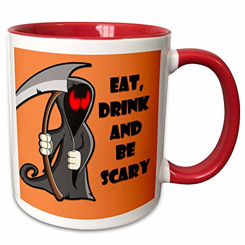 3dRose RinaPiro - Halloween Quotes - Eat, drink and be scary. Halloween funny quotes. Popular saying. - 15oz Two-Tone Red Mug (mug_218445_10)]()