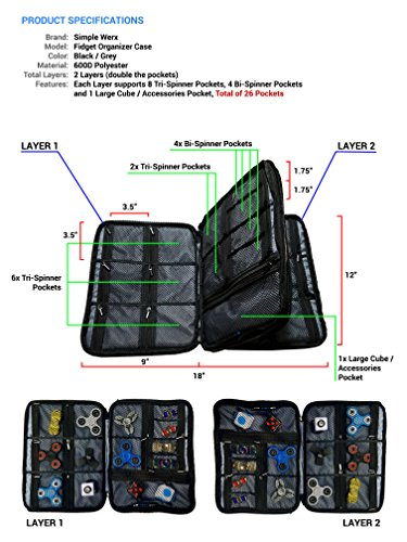 Collection Spinners Organizer Case Holder Simple Werx  Fidget Spinner Case Box Bag Carrying Case Cubes Holds Over 24+ Fidgets