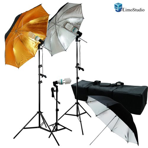 LimoStudio 600W Photo Video and Portrait Studio Umbrella Kit with (3X) 45 Watt, 6500K Daylight Balanced CFL Bulbs, Gold/Black and Silver/Black Reflective Umbrellas, Stands, and Carrying Case, AGG1295 by LimoStudio