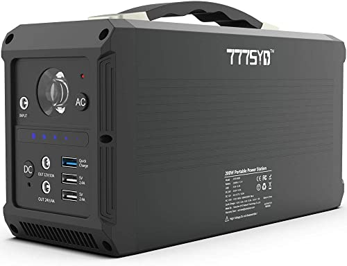 777SYD Portable Power Station, 230Wh 62400mAh Lithium Battery Portable Solar Generator, 200W Power Station Emergency AC DC Power Supply with 110V AC Outlets, 12V 24V DC Ports, Flashlight, QC3.0 USB