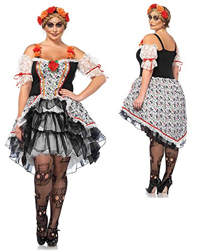 Leg Avenue Women's Plus Size Lovely Calavera Costume, Multi, 1X-2X (Day Of The Dead Woman Halloween Costume)