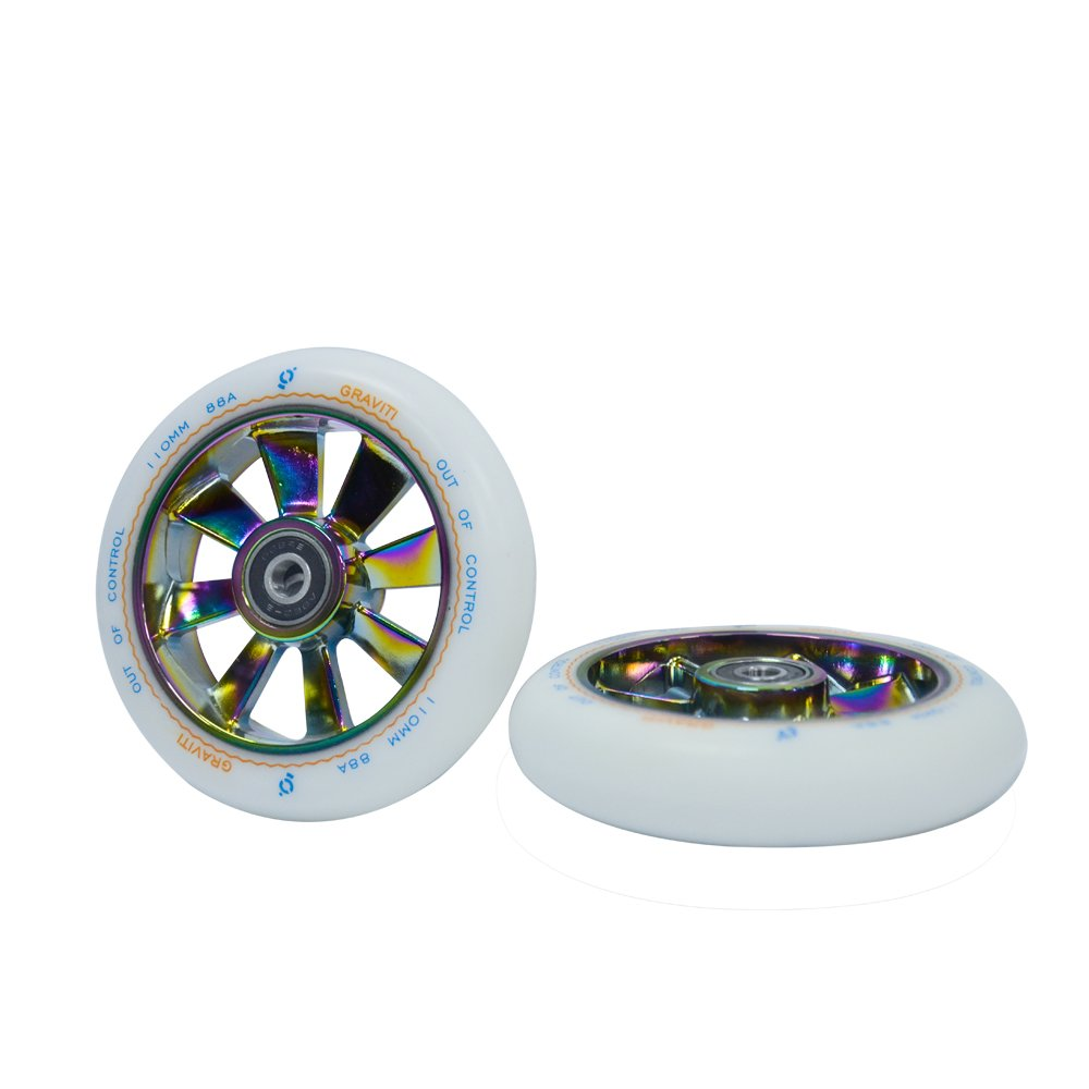 GRAVITI 110mm Pro Stunt Scooter Wheel 1 Pair with ABEC 9 Bearings for MGP/Razor/Lucky/Envy/Vokul Scooter Replacement Wheels (2 Pieces) (Rainbow core White PU)