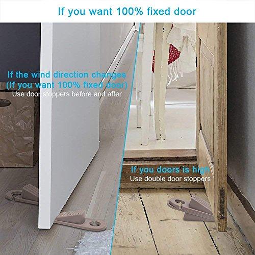 Door Stoppers, Hook Type Premium Rubber Door Stop Wedge, 6 Pack Doorstops Work On All Floor Surface for Home Office School by Zivisk (Image #3)
