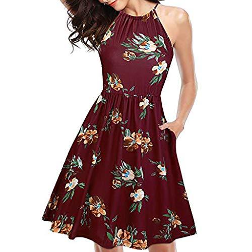 Kiasebu Women's Sleeveless Halter Neck Floral Print Summer Casual Sundress Mini Party Dress with Pocket