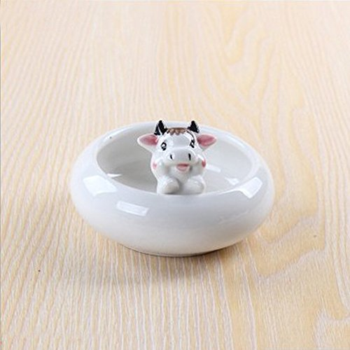 Cow Tabletop (Calunce White Ceramic Cute Animal Ornament Succulent Plant Pot / Tabletop Decorative Planter (cow))