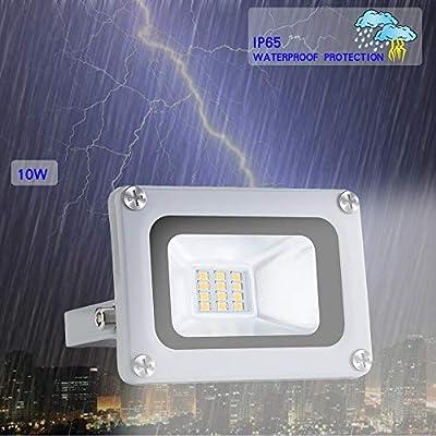 LED Flood Light 10W, 800 Lumens, 6000K Cool White LED Floodlight, Outdoor Security LED Work Lights, IP65 Waterproof for Garage, Yard, Garden, Lawn