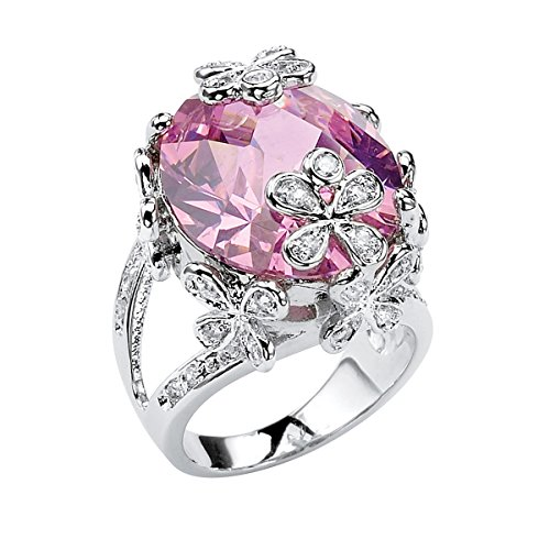 Palm Beach Jewelry Oval-Cut Pink Cubic Zirconia Silvertone Butterfly and Flower Ring Size 7 Brilliant Cut Butterfly Ring