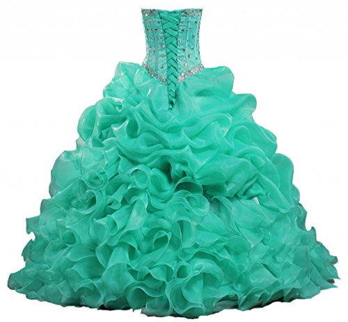 ANTS Women's Pretty Long Ruffles Quinceanera Dress Ruched Party Gown Size 16 US Turquoise
