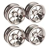 DN Aluminum Alloy RC 1:10 Racing Car Wheel Rims With 7-Spoke Chrome (Pack of 4)