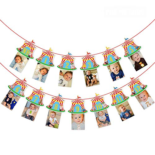 Circus Carnival Theme Banner for 1st Birthday Party Circus Theme First Year Baby Monthly Milestone Banner Photo Booth Props Cake Smash Party Decorations Supplies