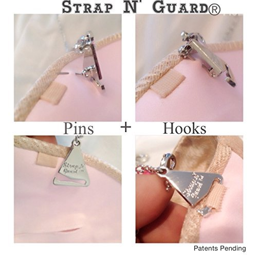 Strap N' Guard Women's Shoulder Tiered Crystal Pin Straps for Bra and Dress