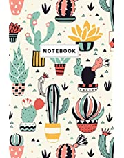 Notebook: Colorful Cactus Plant Pattern Notebook Journal College Ruled Blank Lined Small (6 x 9) Cute Trendy Composition Book Planner Diary Softback Cover