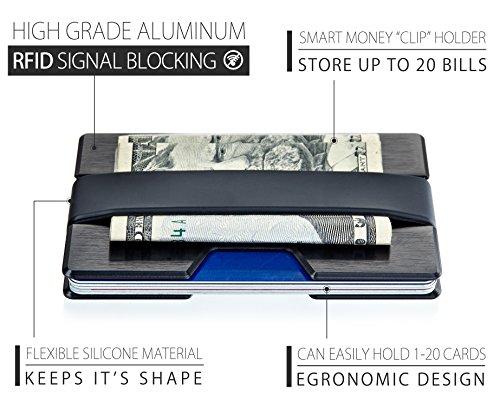 ROCO Minimalist Aluminum Slim Wallet RFID BLOCKING Money Clip - No.2 (Black) by Roco (Image #6)