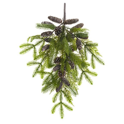 30''Hx15''W Pine & Pinecone Artificial Teardrop Swag -Green/Brown (pack of 2)