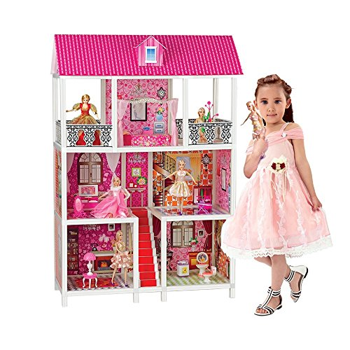 Bettina Dollhouse with 5 Dolls and Furniture, DIY 3 Levels Doll House Kit, over 4' tall