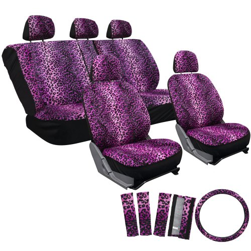 OxGord 17pc Leopard Seat Cover Set for the Chevrolet Cruze Sedan in Purple Leopard Print - Chevrolet Cruze Seat