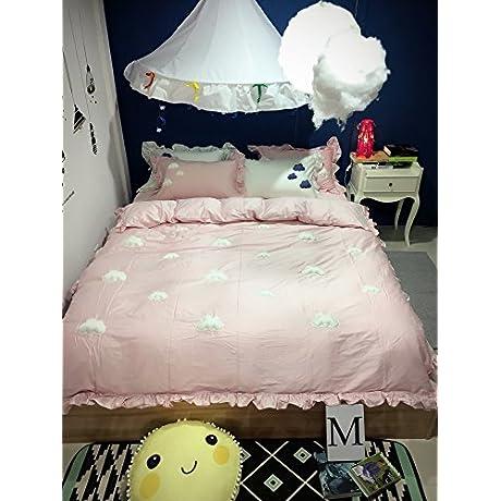 MZPRIDE Girls Bedding Set Cute Clouds Bedding Set Pink Full
