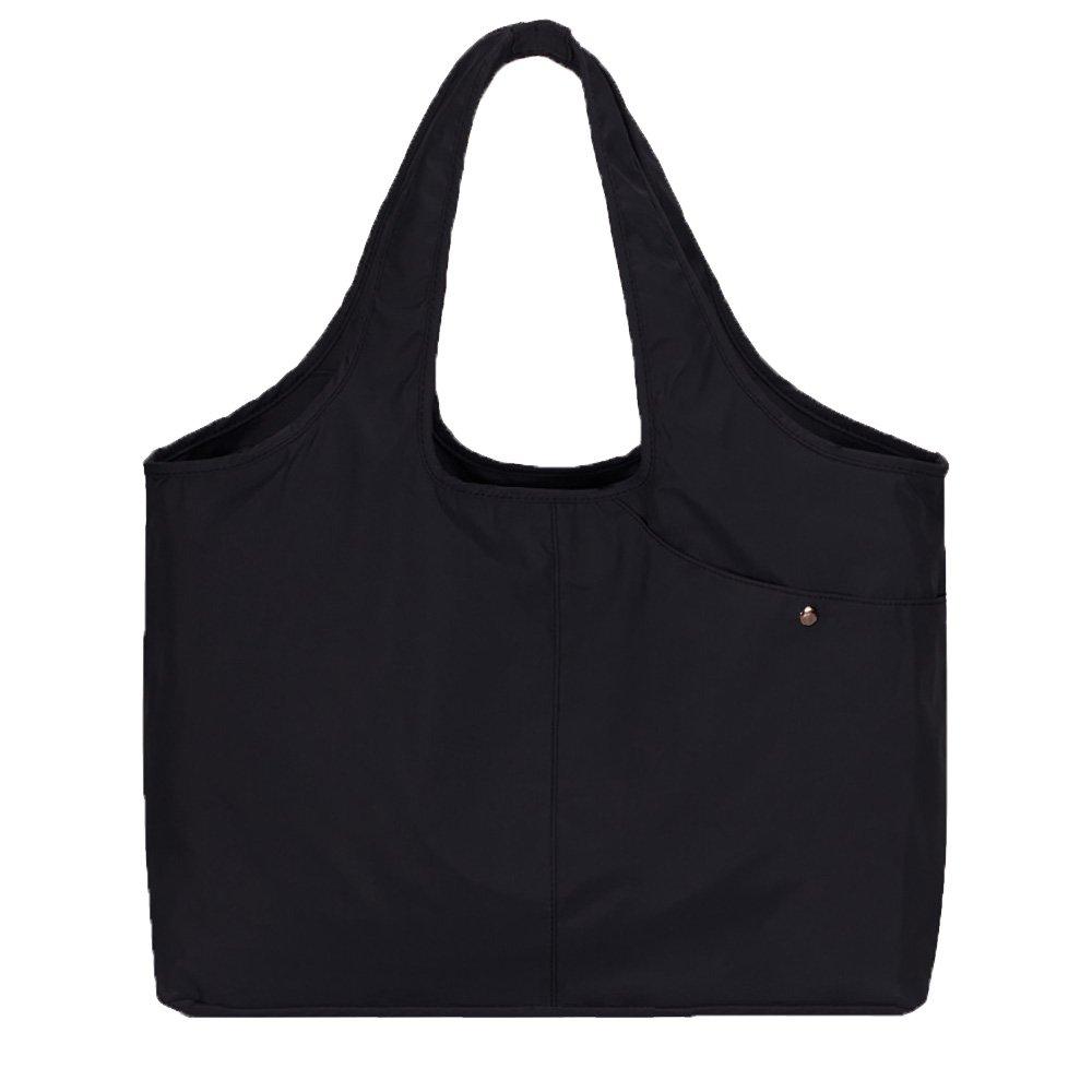 Volcanic Rock Waterproof Shoulder Shopping Bag Lightweight Totes Water-Resistant Nylon Large Capacity Purse(8045_Black)