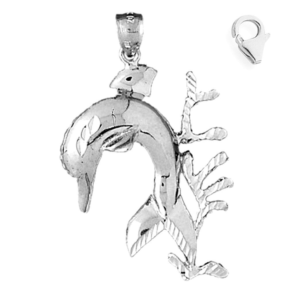 JewelsObsession Sterling Silver 45mm Dolphin with Coral Charm w//Lobster Clasp