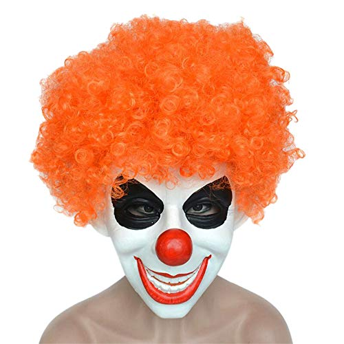 Halloween Funny Props Costume Mask Smiffy Cosplay Clown Mask with Colorful Hair (Orange) -