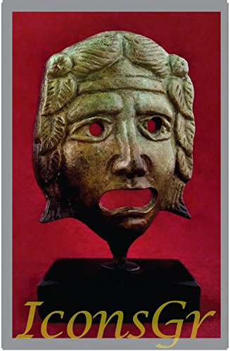 Griego antiguo Bronce Museo Estatua réplica de teatro máscara de tragedia (1461)