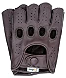 Riparo Mens Leather Reverse Stitched Fingerless Half-Finger Driving Motorcycle Gloves (Large, Brown)