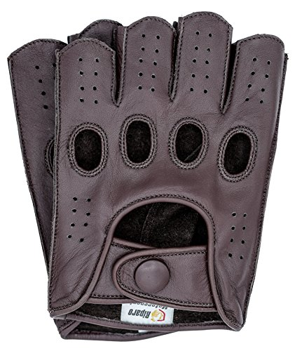Riparo Mens Leather Reverse Stitched Fingerless Half-Finger Driving Motorcycle Gloves (X-Large, Brown)