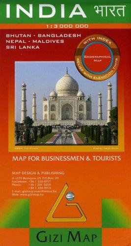 India, Bhutan, Nepal, Bangladesh, Maldives, and Sri Lanka Map (English, French, Italian, German,...
